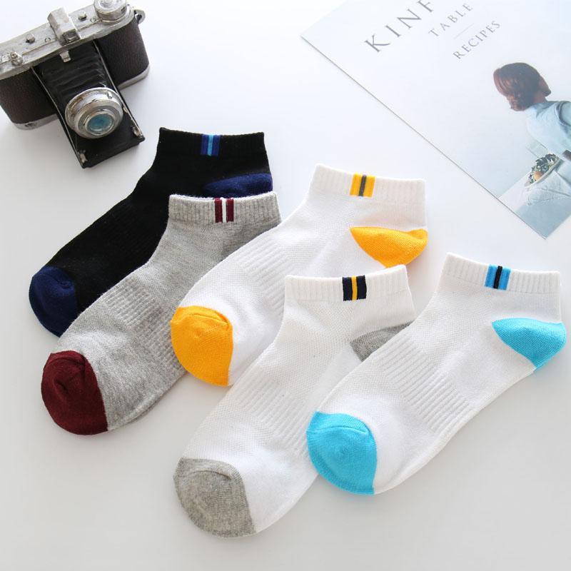 De bambú de los hombres de los calcetines ocasionales respirables de visita rayada calcetín corto de algodón Meias Chaussette Homme 1 Par