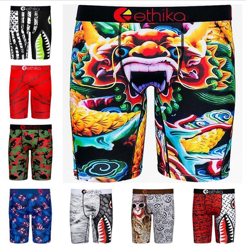 أزياء الرجال الملاكم الرياضة داخلية سريعة جاف تنفس الرجال الملاكمين الكتابة على الجدران الطباعة السراويل اللباس الداخلي للمرأة شاطئ السباحة جذوع سروال أفضل بيع