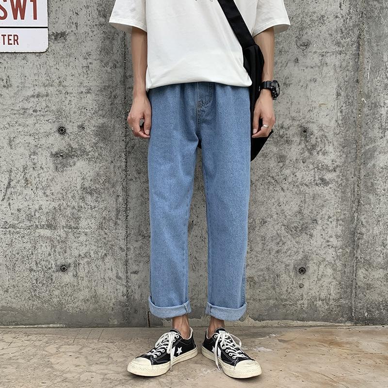 OVtrR nouvelle mode masculine Jeans 2020 marque été lâche jeunesse à la mode longueur de la cheville droite tout match papa large pantalon jambe large pantalon jambe trou