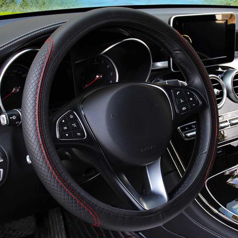 Dirección del coche universal de la rueda cubierta antideslizante auto Steering- la cubierta de rueda antideslizante cuero repujado coche-estilo