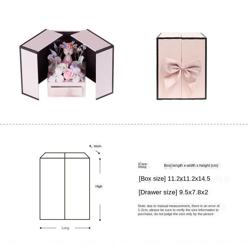 HksgY creativo Rossetto Nuovo gioielli fiori di sapone di monili regalo contenitore di imballaggio rossetto San Valentino