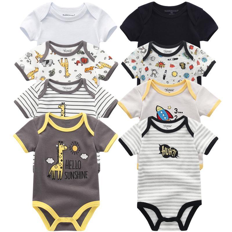 8PCS Baby Boy Summer Одежда для младенцев Ползунки для новорожденных Комбинезон roupa Infantil комплект одежды Y200807