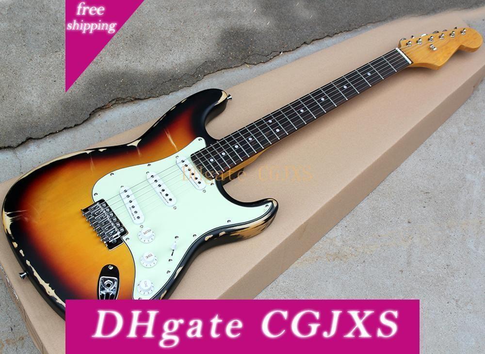 Fabrika Toptan Tütün Sunburst Retro Elektro Gitar Beyaz Transfer, Sss Transfer, Gülağacı Klavye, Özelleştirilmiş olarak Talebi Olabilir