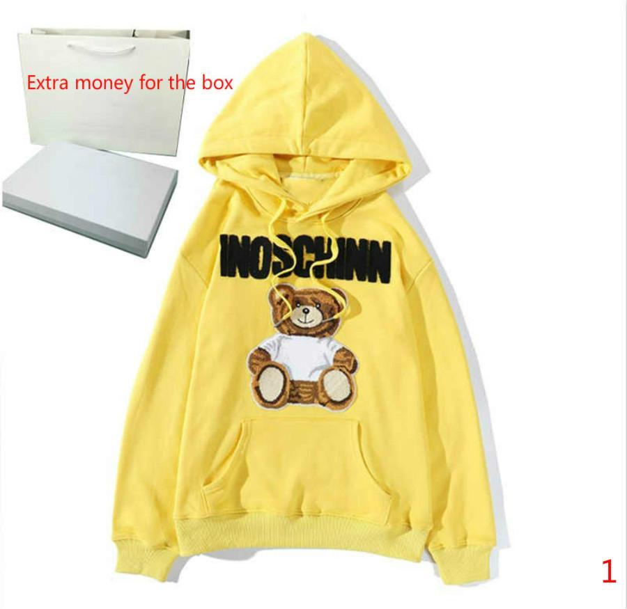 Мужская толстовка с капюшоном свитер Повседневная Sweatershirt Loong рукава Медведь Printed Мужчины Женщины Пара Пуловер Письма Печать Мода 3 цвета Стиль Размер M-2XL
