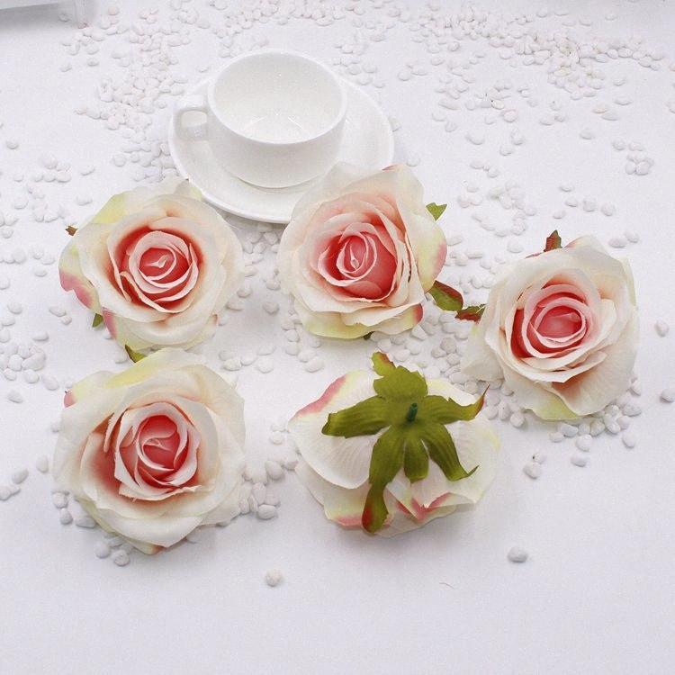 5pcs de soie artificielle Rose Scrapbooking Fleurs pour mariage Accueil Décoration Party bricolage Couronne Accueil Artisanat Fleur LfXA #