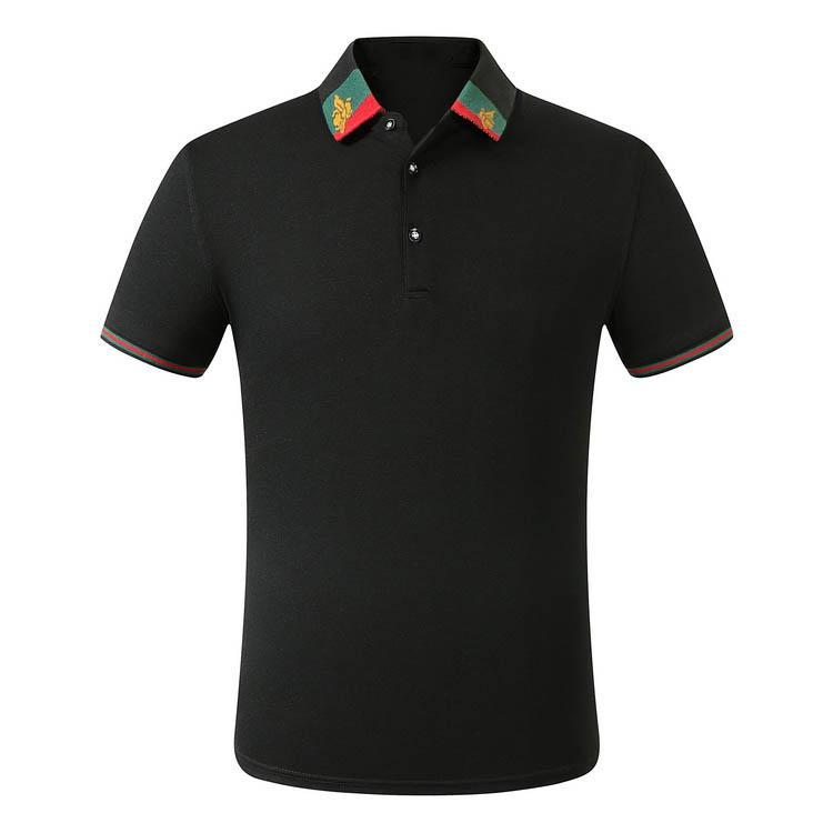 Роскошные моды классического мужской пчелиной вышивки рубашка дизайнер хлопок мужской футболка белой черный дизайнер рубашка поло мужской ср-025 M-3XL