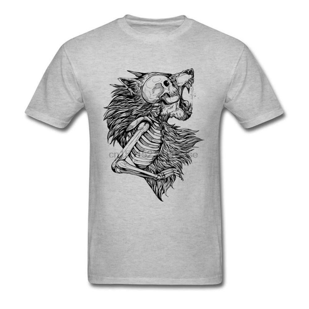 Colégio Fashoin T-shirt dos homens lobo camiseta cópia do crânio Top Grey T-shirt selvagem do projeto da arte Mens Tees Hip Hop Streetwear roupas de algodão