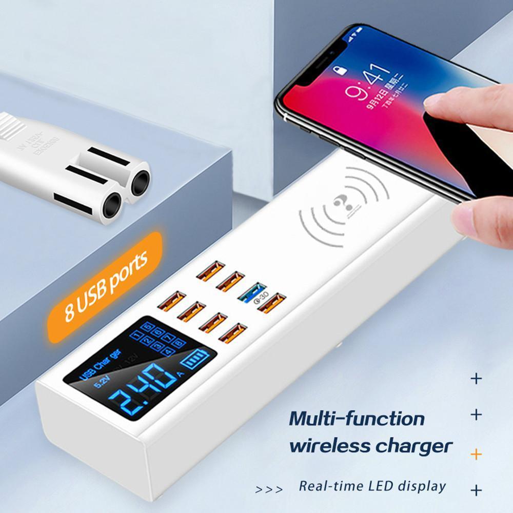 Portas Cgjxs8 Quick Wireless taxa de 3 .0 Digital Display Carregador USB para Android Iphone Adapter Carregador Rápido Para Xiaomi Huawei Samsung