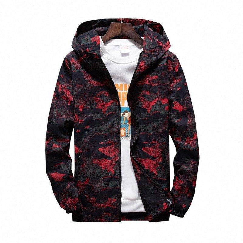 MORUANCLE 2019 para hombre primavera Camo chaqueta de las chaquetas de camuflaje con capucha informal para los jóvenes más el tamaño M 7XL prendas de vestir exteriores # BfV5