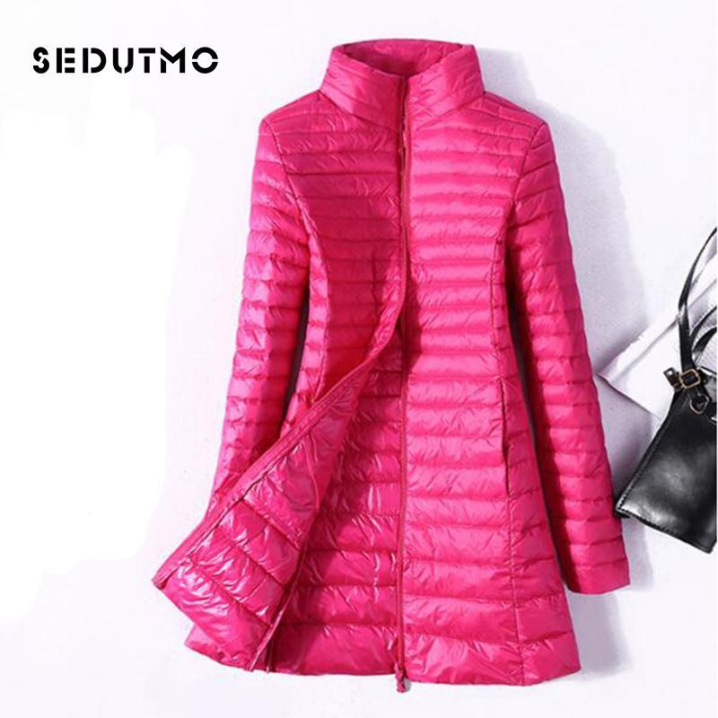 SEDUTMO Winter Plus Size 4XL Femmes vestes en duvet de canard ultra léger Manteau de duvet long Doudoune Slim Noir Parkas ED037 CX200819