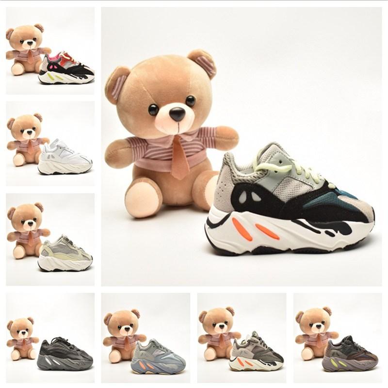 Kanye infantil 700 V2 Glow Azael Formadores de vida zapatillas de deporte para niños pequeños Estático inercia Alvah Niños Niñas Niños corredores de malva de los zapatos corrientes