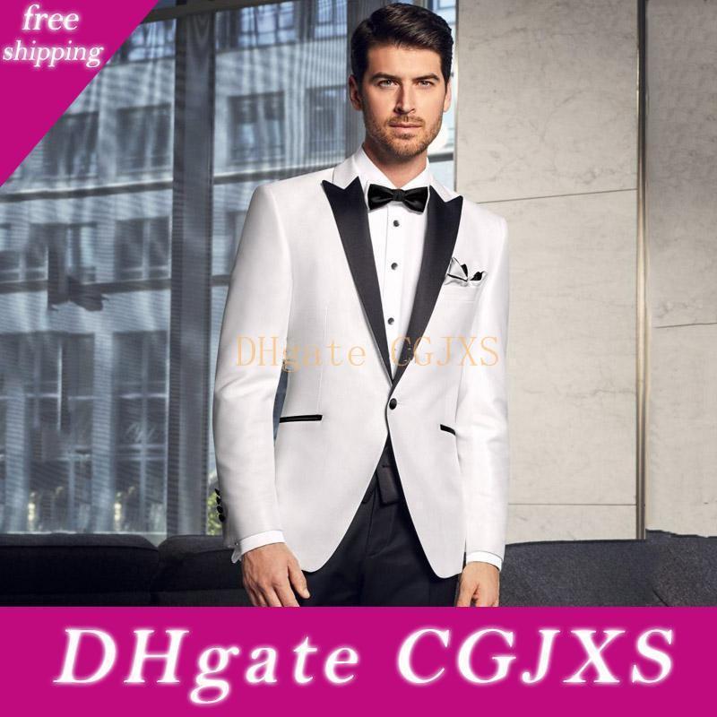 New Classic Style One Button White Wedding Groom Tuxedos Пик нагрудного Groomsmen Mens ужин Blazer костюмы (куртка брюки Bow Tie) 457
