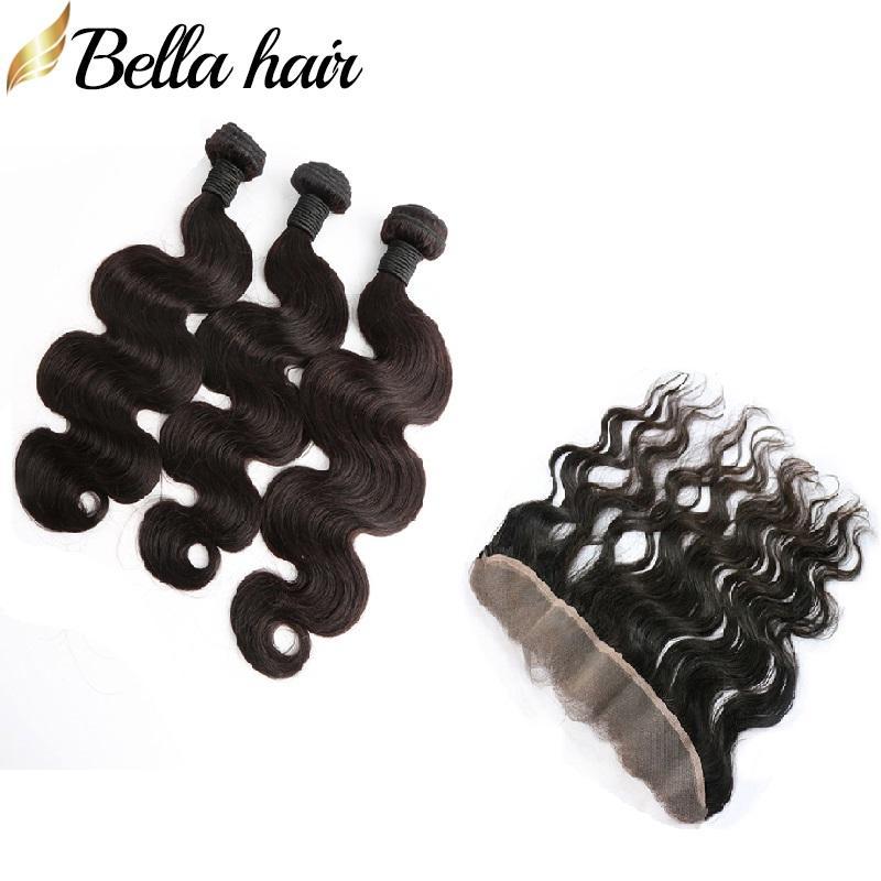 4pcs indiana do cabelo humano de trama com laço frontal onda do corpo não transformados Huamn extensão do cabelo / Lot Natural Color 10-34Inch Bellahair