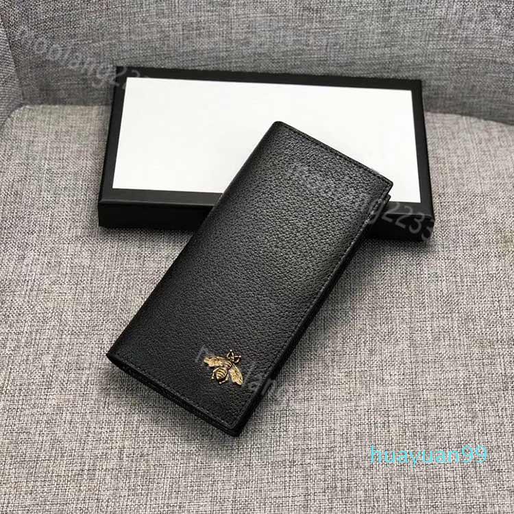 diseñador Nuevo- hombres de las carpetas famosos carteras titulares de abeja abeja largo negro del monedero corta la tarjeta de crédito de alta calidad