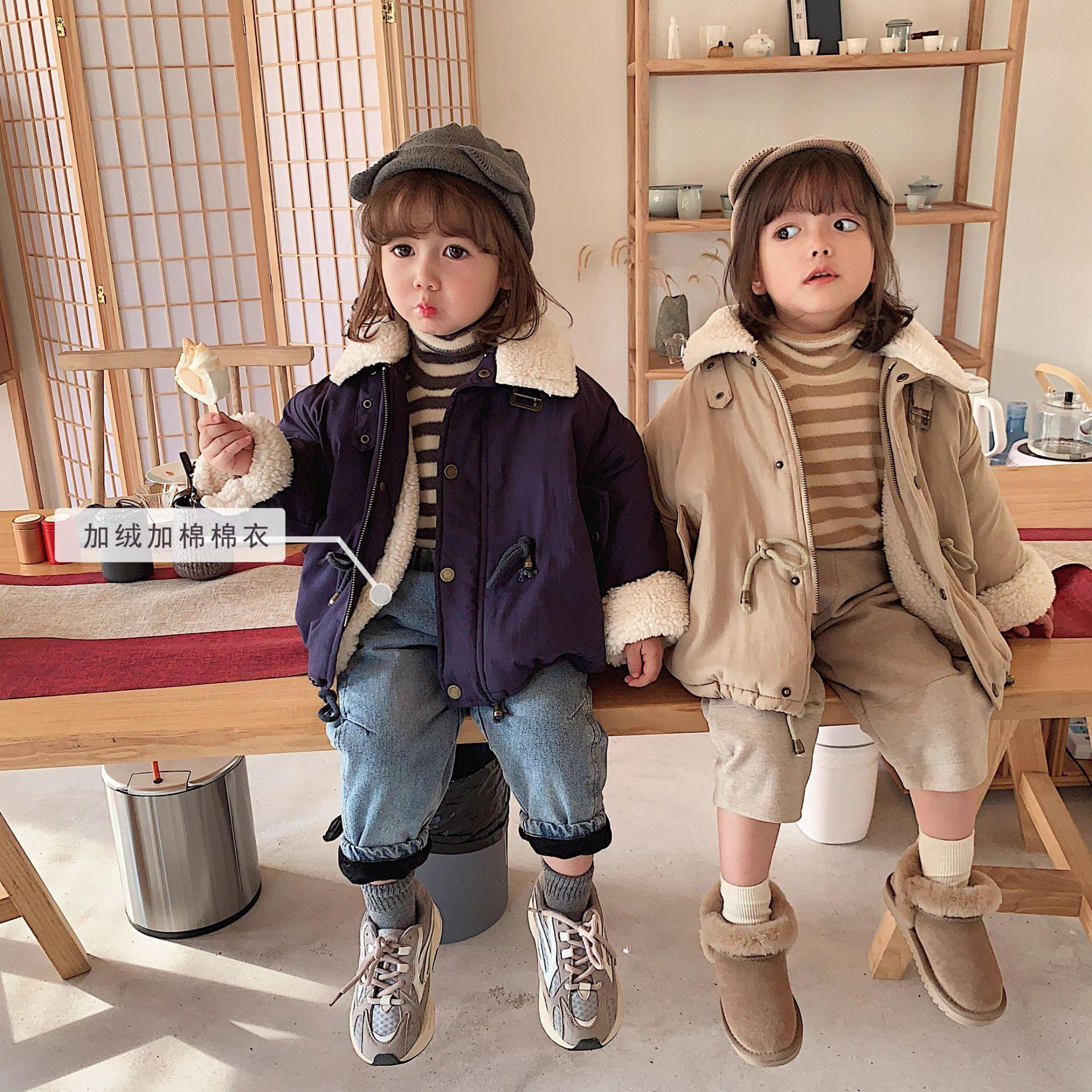 Girls Cotton Padded Coat Winter 2019 New Children Baby Thicken Warm Coat with Velvet Lamb Wool Collar Girl Baby Jacket for 1-6Y Y200831