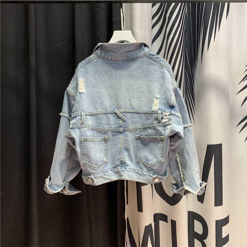 2020 Harajuku European Style Blau Jean Jacket Women Short Denim Jacken Frühling zerrissene Loch-lose Mantel Korean New Roupa Feminina