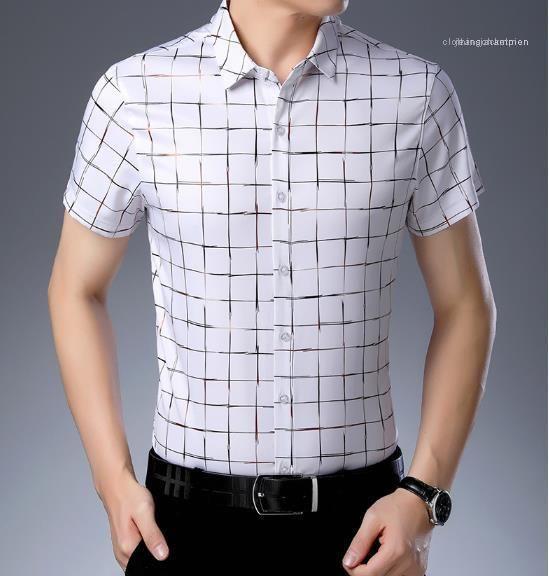 Slim Designer Plaid Male Casual Short Sleeves Tops Solid Shirt Plus Size Mens Clothing Polo Color Fsjmc