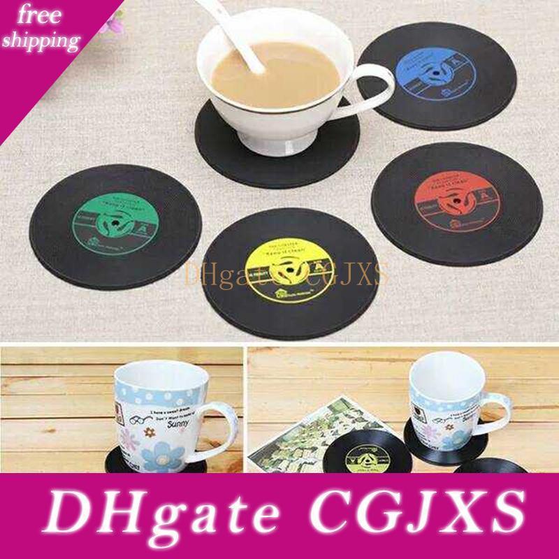 Retro Vinyl Cd Enregistrez boissons Sous-verres Accueil Table Coupe Tapis Décor Creative Café Boisson napperon Spinning Isolation souple Coaster Ldh32