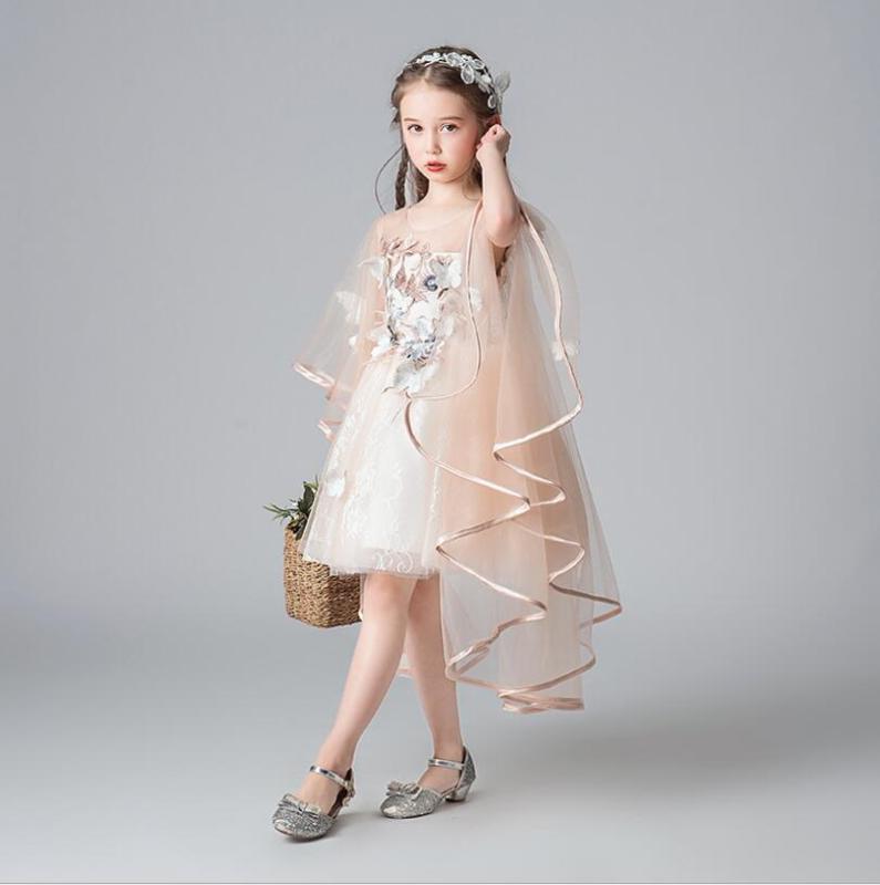 أنيقة زهرة حزب فستان الأميرة الشمبانيا ثوب الزفاف وصيفه الشرف للبنات زي عيد الميلاد اللباس المناولة الأولى Vestidos