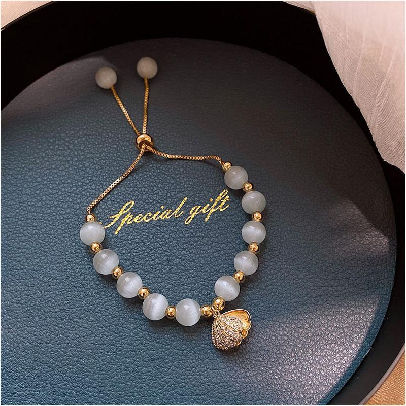 Natürlicher Opalkorne Shell Armbänder Zircon Art und Weise Frauen Jahrgang Edelstahlarmbänder für Frauen Armband