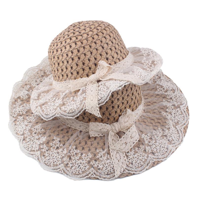 2ST Elternteil modernen Sommer-Hüte Damen Frauen beiläufigen Bowknot-Spitze-Band Strohhut Schirmmütze für Ferien am Meer # T2G
