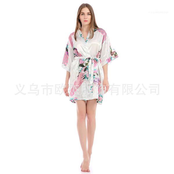 Summer Womens Robe Sexy V Neck 1/2 Sleeve Knee Length Belt Loose Sleepwear Womens Designer Pyjamas Peacock Floral Printed