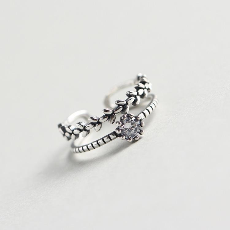 Real S925 cuerpo completo esterlina anillo de la astilla de apertura ajustable Boca circón diamante embutido de doble capa Anillos Sliver diseño mezclado joyería de dedo