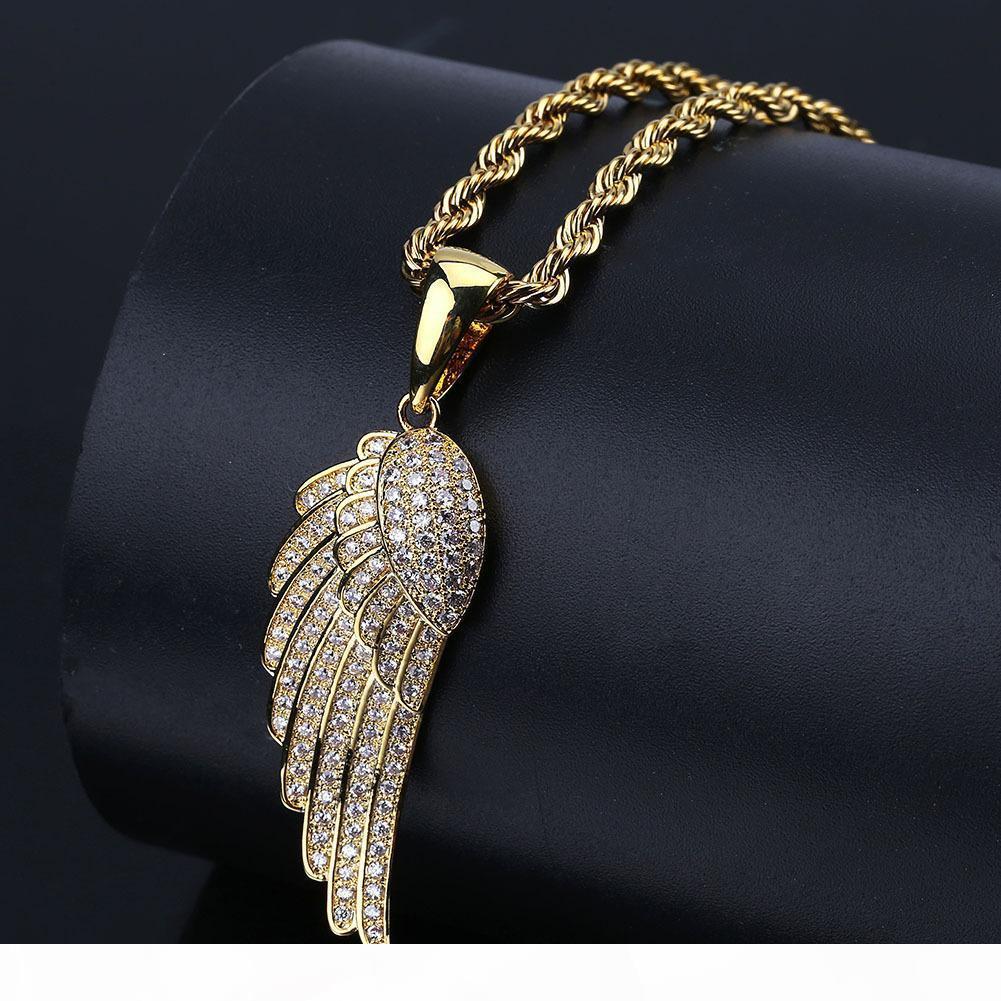 Mulheres Moda Jóias Idea asas de anjo colar de ouro pingente de prata banhado a cores para fora congelado completa CZ Stone melhor presente
