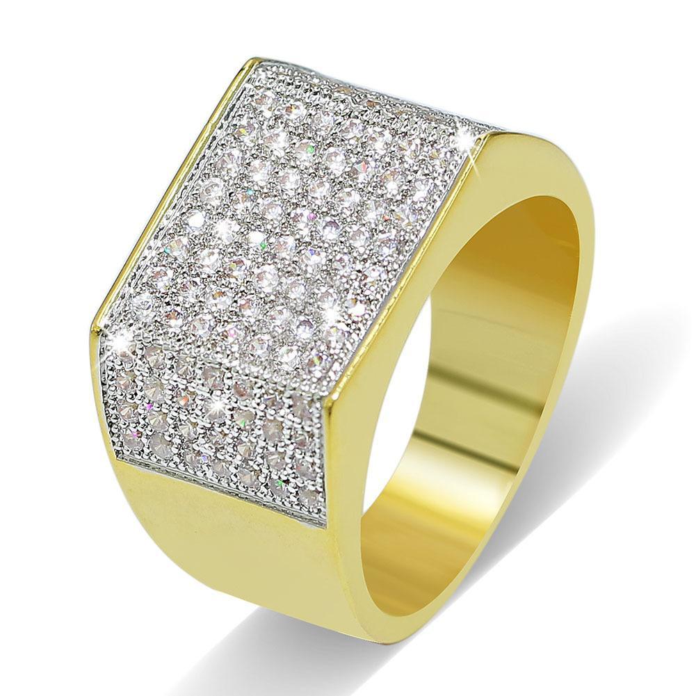 Stile europeo e americano HipHop fuori ghiacciato completa CZ pietra anelli placcati oro completa DiamondJewelry Mens Hip Hop dei monili degli anelli