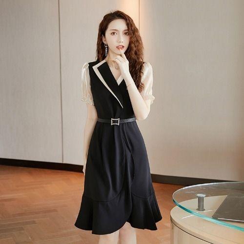 nC5GY 2020 Frauen neue Frühlingsrock Sommer koreanischen Stil Taille Rock-Kleid fishtail und fishtail Schlankheits Persönlichkeit des öffentlichen Lebens Temperament schwarzen Kleid