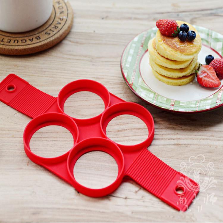 Novo Design 4 Designs Silicone Pancakes Egg Anel Moldes Fantástico Easy To Criador antiaderente Household Libras Omelette Asse Cozinha Moldes