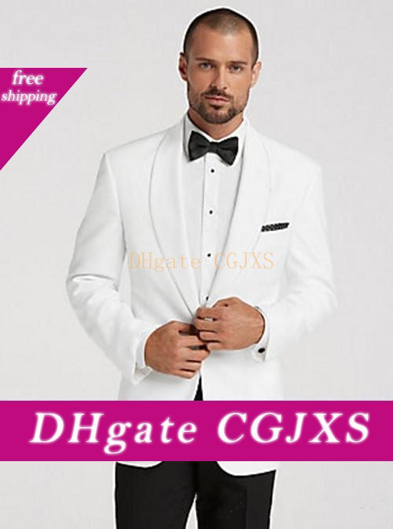 Nuovo Design elegante smoking dello sposo un pulsante scialle bianco risvolto Groomsmen migliore vestito dell'uomo Abiti da sposa (Mens Pants Jacket Tie) 771