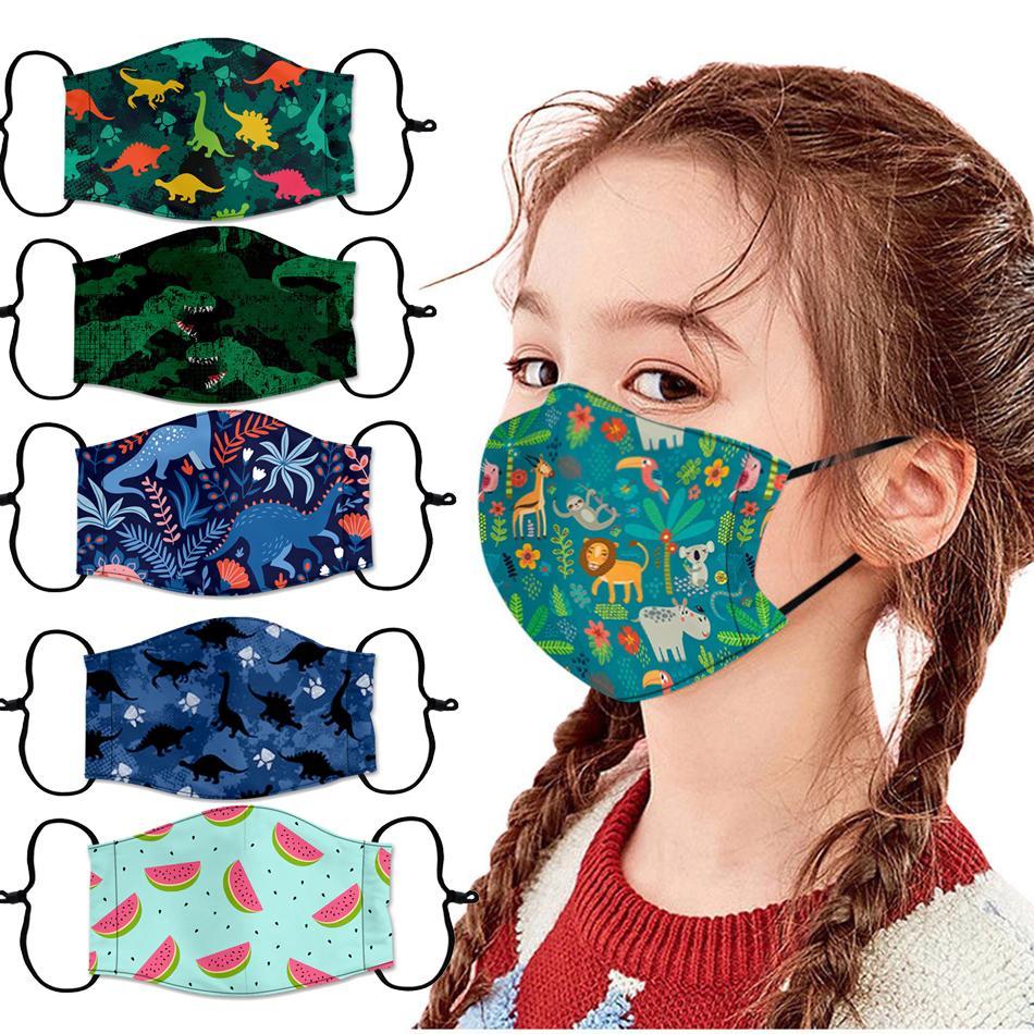Enfant enfants Cartoon Garçons Filles Bouche Masque Anti Pollution respirante Imprimer Masques visage pour Bouton d'oreille ajustable Enfants Masque W3233