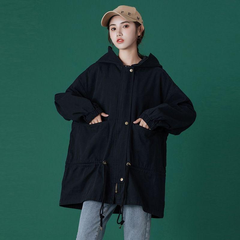 Vêtements de femmes de grande taille 2020 Automne Nouveau single trench coat simple coupe-vent ins simples tout match mode casual étudiant lâche manteau ZPD