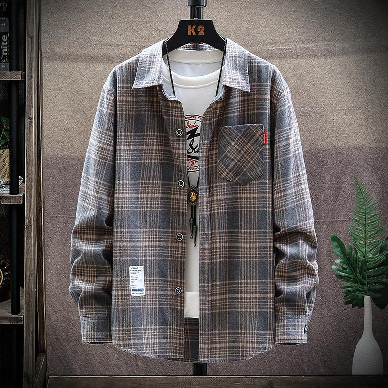 printemps hommes de chemise à carreaux à manches longues et à l'automne style coréen mode casual chemise lâche beau manteau des hommes de personnalité