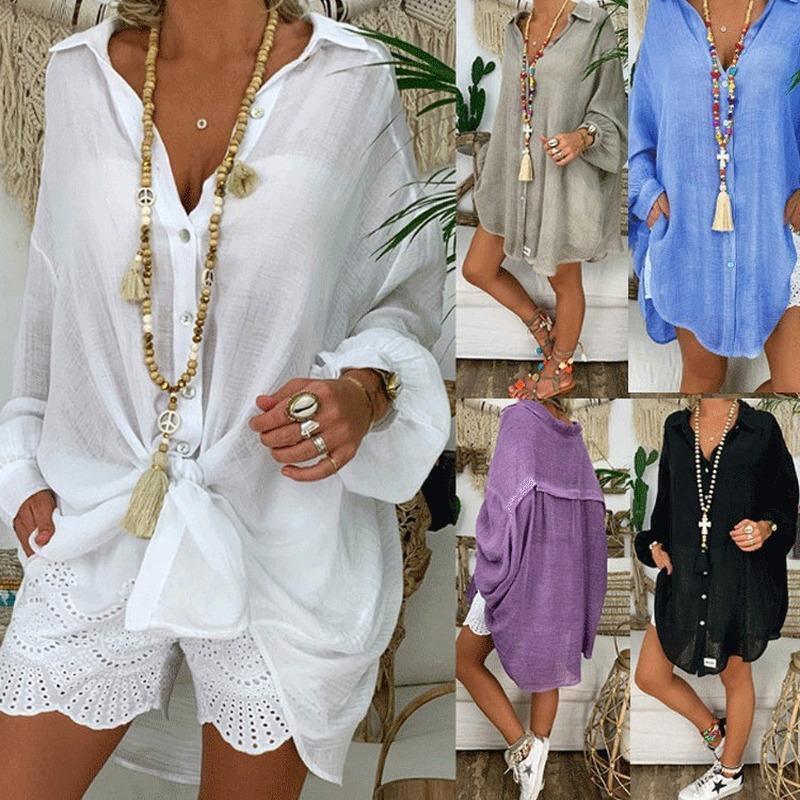 Kadınlar Gömlekler Gömlekler Casual Katı Tam Gevşek ve rahat VETEMENT Femme için Bluz Kadınlar Artı boyutu Giyim