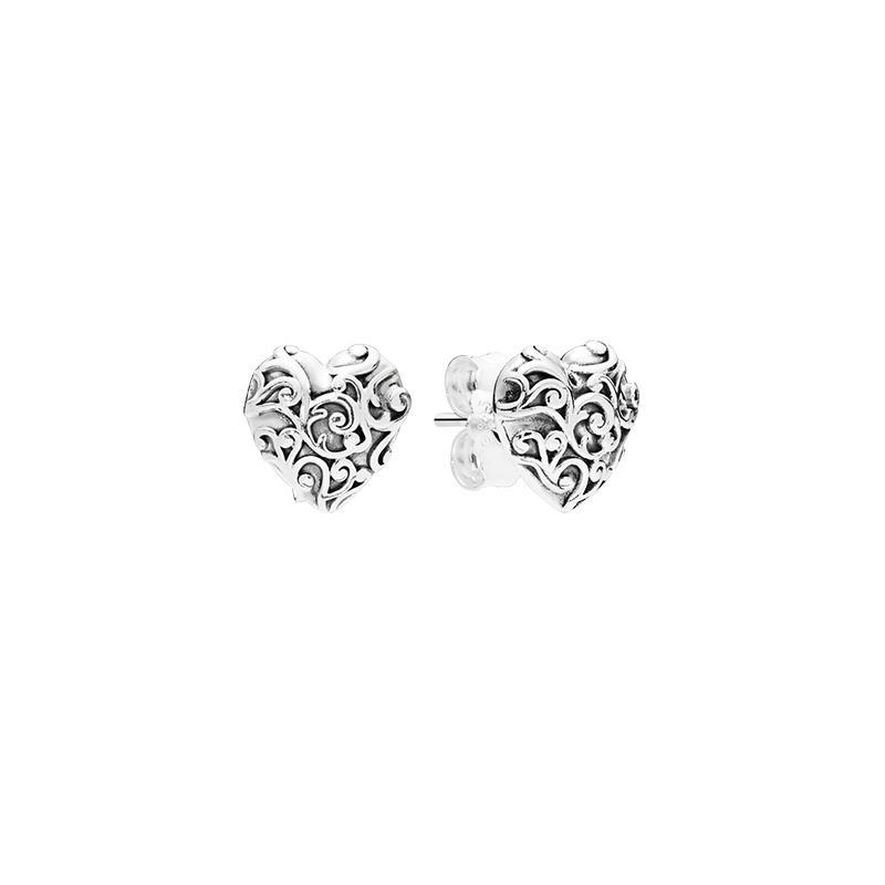 925 Sterling Silber Herz Ohrringe Original Kasten für Pandora Regal Herz-Bolzen-Ohrringe für Frauen-Mädchen-Geschenk-Schmucksachen EARRING