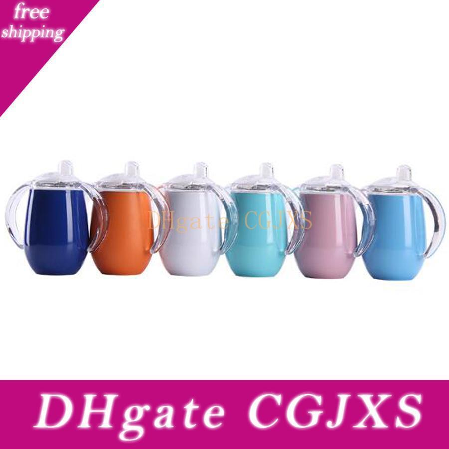 8 Unzen Sw Ig Egg Shell Cup Edelstahl-Vakuum Cup Kinder; S Insulated Milchflasche Wasser-Schale mit Griff Unterstützung Individuelle Logo