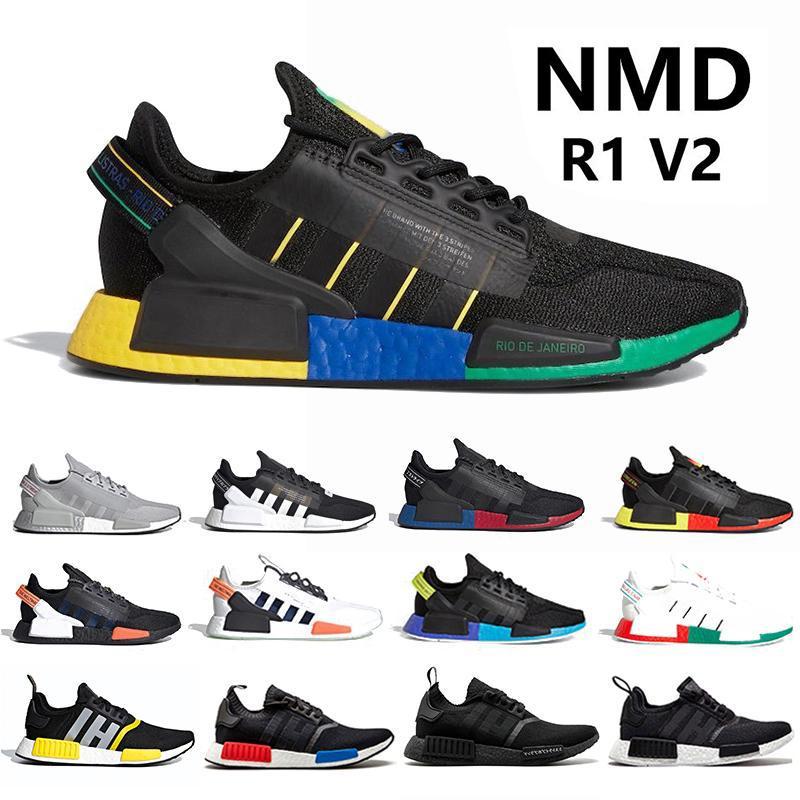 Running Shoes NMD R1 V2 des Chaussures Core para hombre Blanco Negro og Bred oro metálico Triple Hombres Mujeres Deportes diseñador zapatillas de deporte Tamaño 3