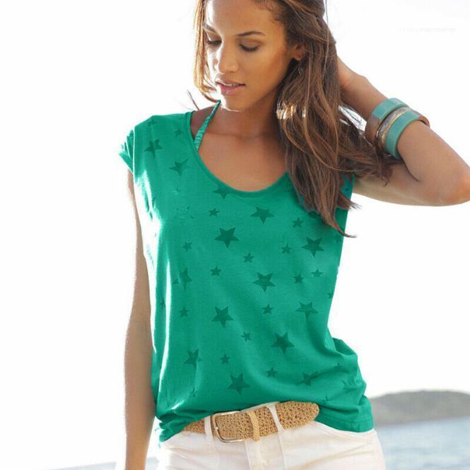 Tops del cuello de equipo de mujeres ropa de verano ropa de las mujeres flojas para mujer de diseño camisetas de manga corta de impresión Pullover Tees