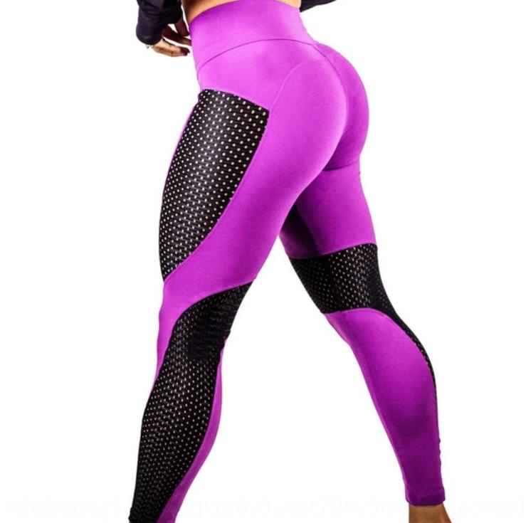 PLnQG New stitching mesh Yoga contrast color hip lifting slim high waist sexy sports leggings tight pants Mesh tight pants