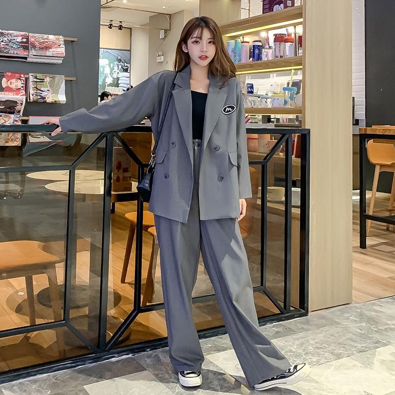 WTOhv britischen Stil eant kleine breite Beinhosenanzug Frauen lösen frühen Herbst vertikale breite Beinhosen beiläufige zweiteilige Anzug
