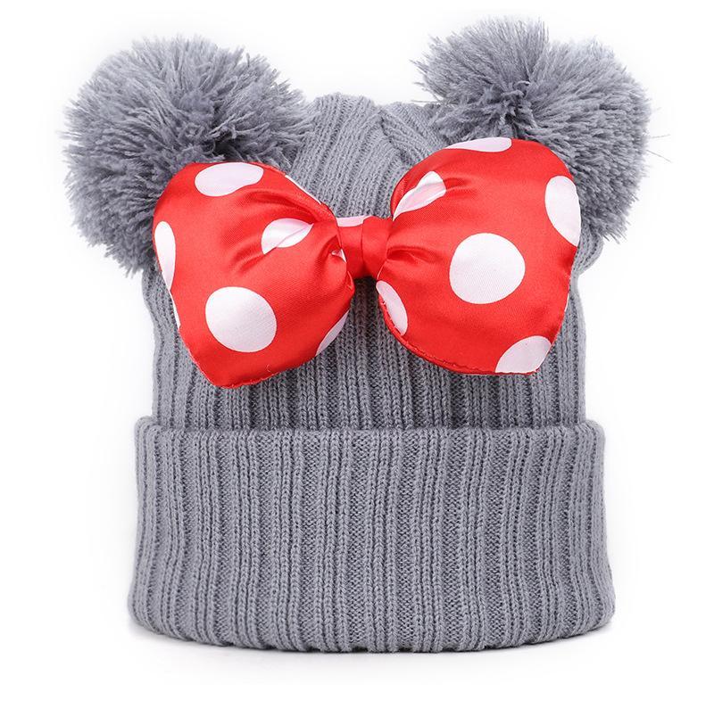 Herbst- und Winterkinder Stricken Hüte 1-9 Jahre alt Netter Bogen Doppelwolle Ball Mützen Schöne süße warme gestrickte Hut