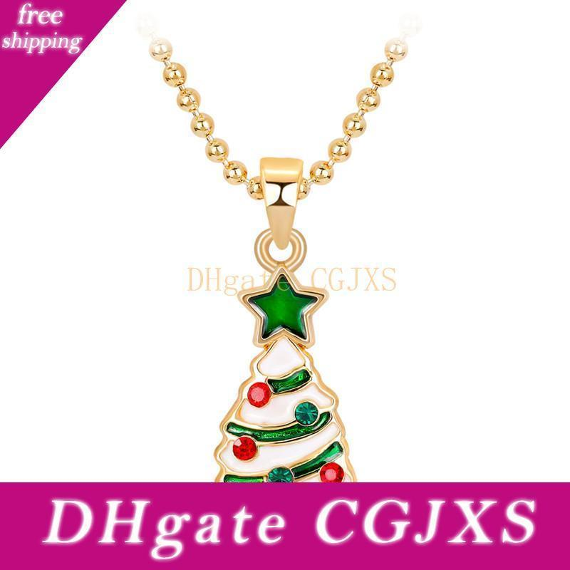 Neue Art und Weise Gold überzogene Weihnachtsbaum-Halsketten für Mädchen Geschenke Green Stars Frauen Lange Ketten-Anhänger-Halskette Cloth Zubehör Db