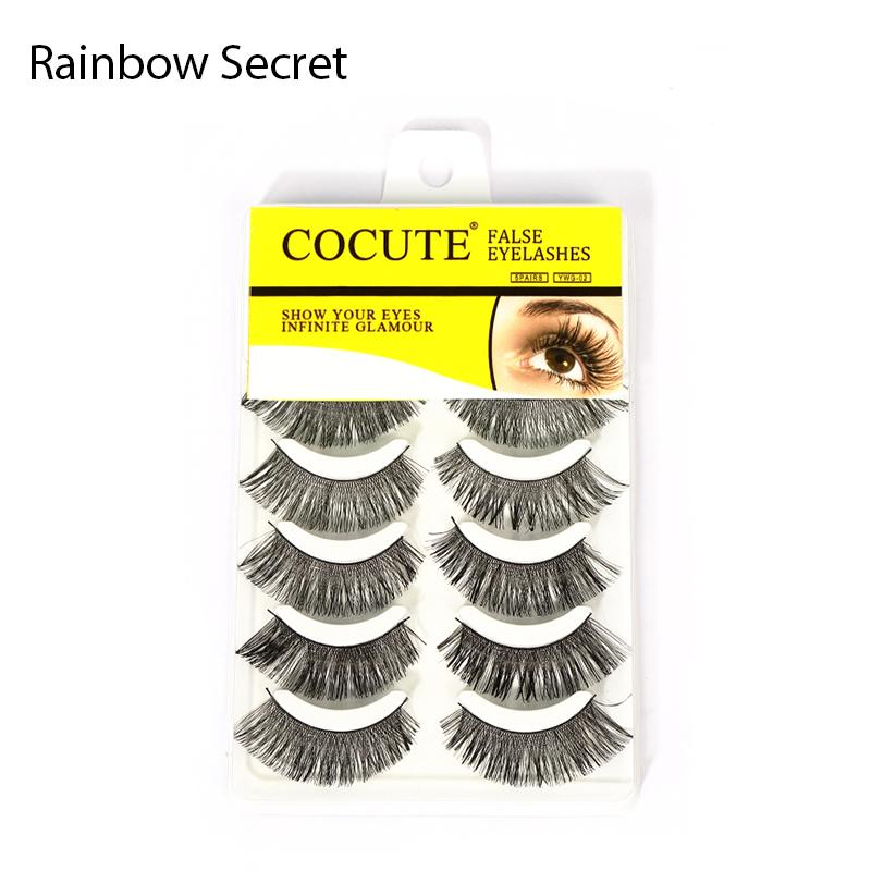 Rainbow Secret 5 Pairs Soft Long Makeup Cross Thick False Eyelashes Handmade Eye Lashes Extension Make Up Brand