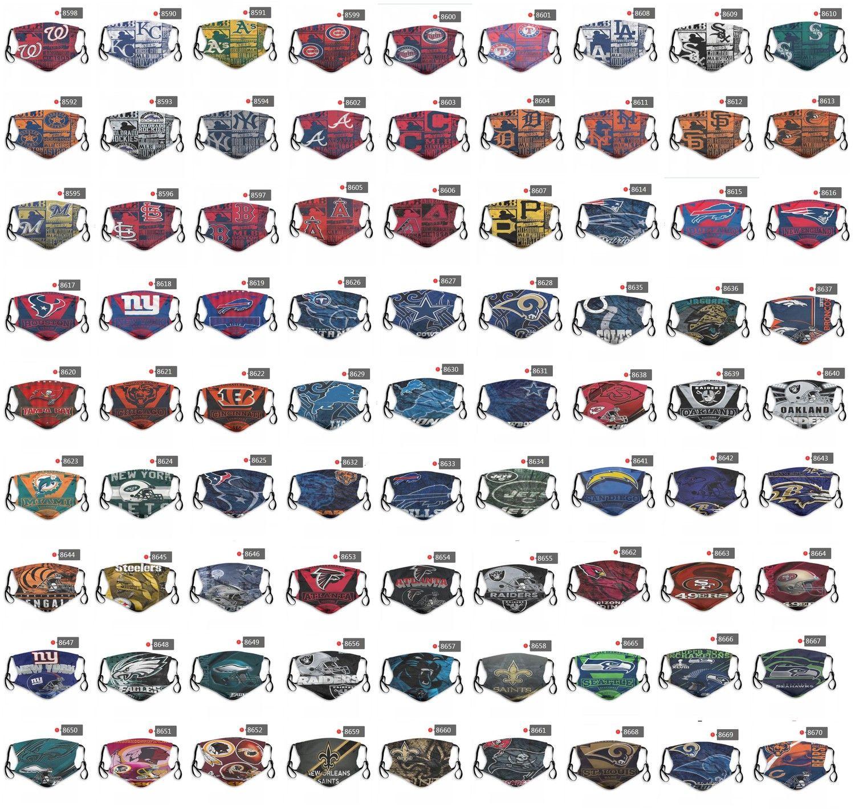 2020 Nuovo 5 strati della mascherina protettiva puro cotone di personalità dal design di lusso mascherina mascherine di baseball della squadra di football riutilizzabile Viso antipolvere PM2.5