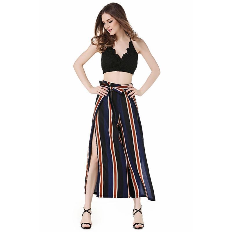 Allentato casuale S Estate Europa e pantaloni di donne dell'America Stripes pantaloni sexy fessura Lace-Up pantaloni da donna
