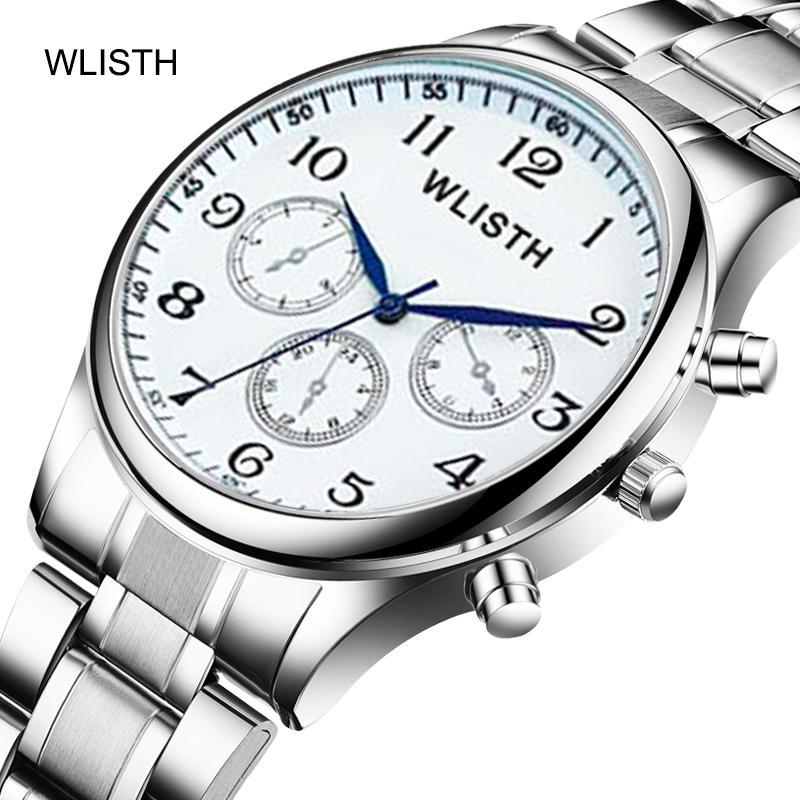 Armbanduhr männliche Uhr wasserdicht Quarz Epidermis mit Imitation von drei Augen einfachen männlicher Art und Weise Stahlband Uhr Student
