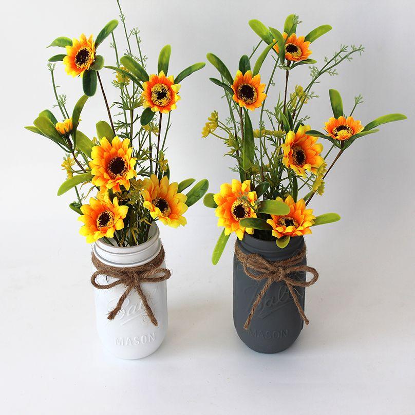 Girassol da peça central queda Arranjo Farmhouse Decoração Mason Flor Floral Vase Duche rústico nupcial do casamento Home Decor