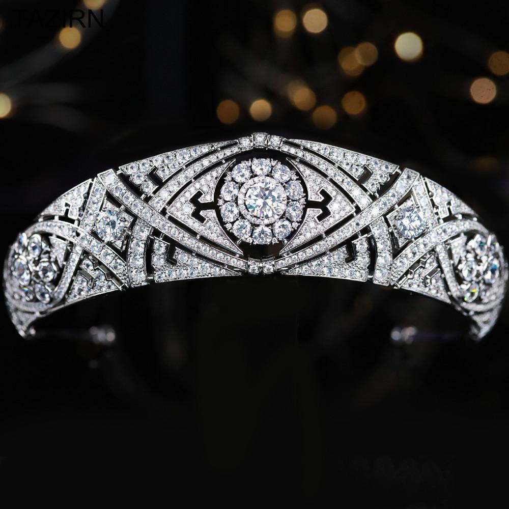 Meghan Markle pelo Tiara de la boda Corona diadema circón princesa Mujeres tiaras y coronas Partido desfile Para los accesorios nupciales Y200807